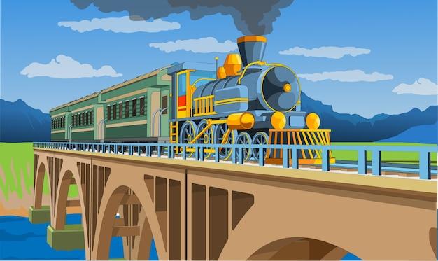 橋の上に3dモデルの列車がある色とりどりのページ。電車の旅の美しいイラスト。ヴィンテージレトロな電車のグラフィック。