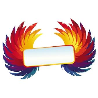 明るいフレームとベクトルcoloful翼