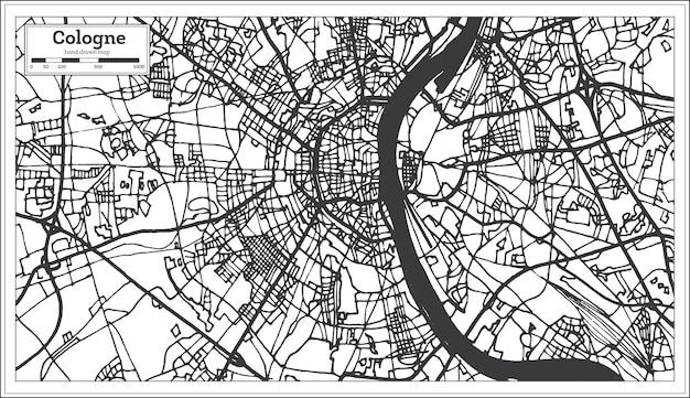 Карта города кельн германия в стиле ретро. контурная карта. векторные иллюстрации.