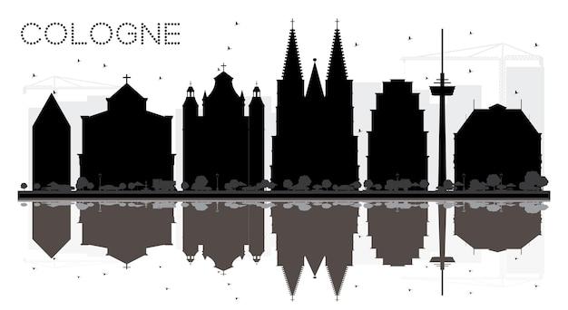 Кельн германия город горизонт черно-белый силуэт с отражениями векторные иллюстрации