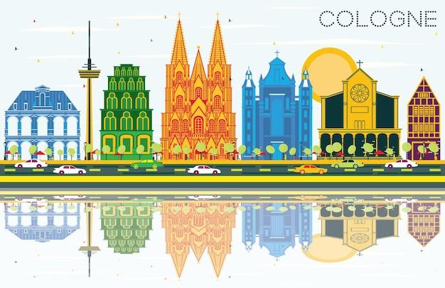 Горизонты города кельн германия с цветными зданиями, голубым небом и размышлениями. векторные иллюстрации. деловые поездки и концепция туризма с исторической архитектурой. городской пейзаж кельна с достопримечательностями.