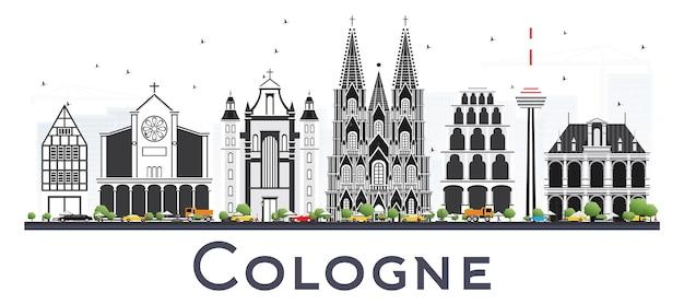 Горизонт города кельн германия с серыми зданиями, изолированных на белом. векторные иллюстрации. деловые поездки и концепция туризма с исторической архитектурой. городской пейзаж кельна с достопримечательностями.