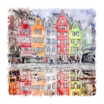 쾰른 독일 수채화 스케치 손으로 그린 그림