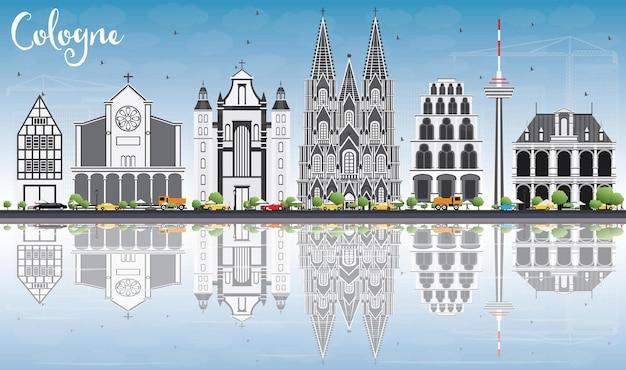 Кельнский горизонт с серыми зданиями, голубым небом и размышлениями. векторные иллюстрации. деловые поездки и концепция туризма с исторической архитектурой. изображение для презентационного баннера и веб-сайта.