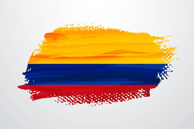 Colombia brush paint flag