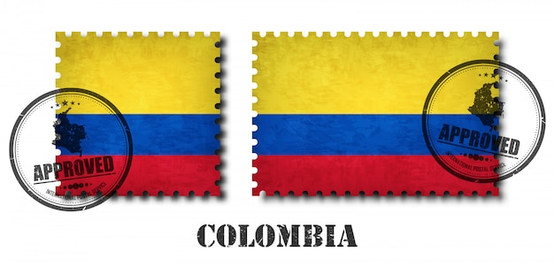 Colombia or colombian flag pattern postage stamp