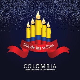 小さなキャンドルのお祝いのコロンビアの日