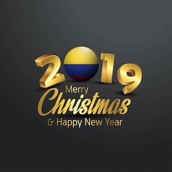 Colombia flag 2019 merry christmas typography