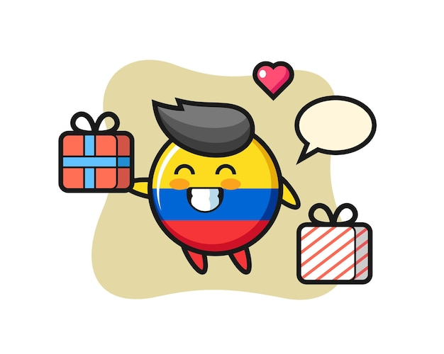 Colombia flag badge mascot cartoon giving the gift , cute style design for t shirt, sticker, logo element