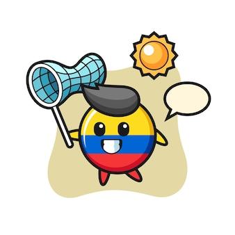 콜롬비아 국기 배지 마스코트 삽화가 나비를 잡고 있고, 티셔츠, 스티커, 로고 요소를 위한 귀여운 스타일 디자인