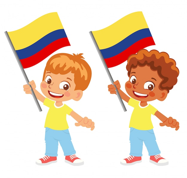 Colombia flag in hand set