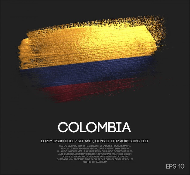 Colombia flag made of glitter sparkle brush paint