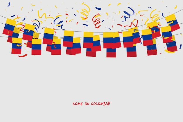 Colombia garland flag with confetti on gray background.