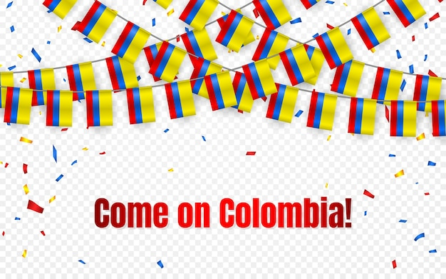 Colombia garland flag with confetti on transparent background, hang bunting for celebration template banner,