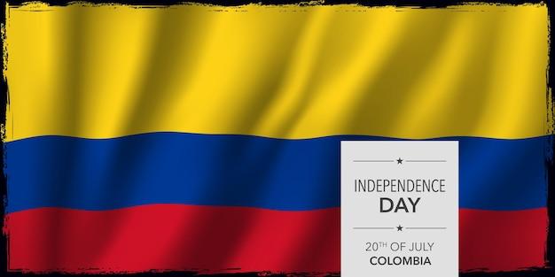 Поздравительная открытка дня независимости колумбии, векторная иллюстрация баннера. национальный праздник колумбии 20 июля элемент дизайна с бодикопией