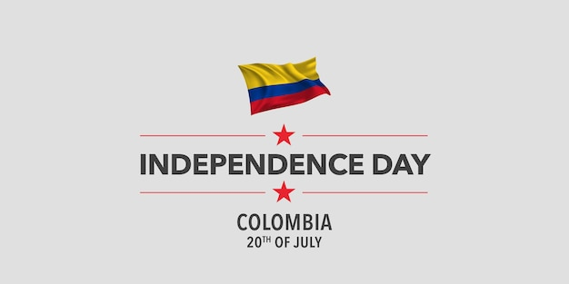 Colombia happy independence day greeting card banner vector illustration