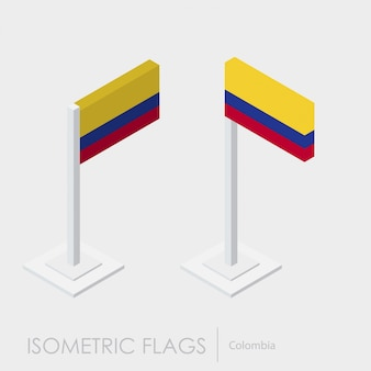 Colombia isometric flag