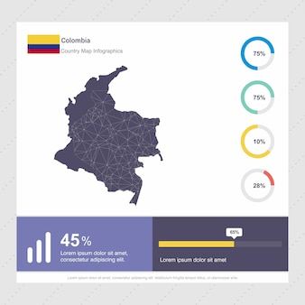 Colombia map & flag infographics template