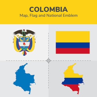Colombia map, flag and national emblem