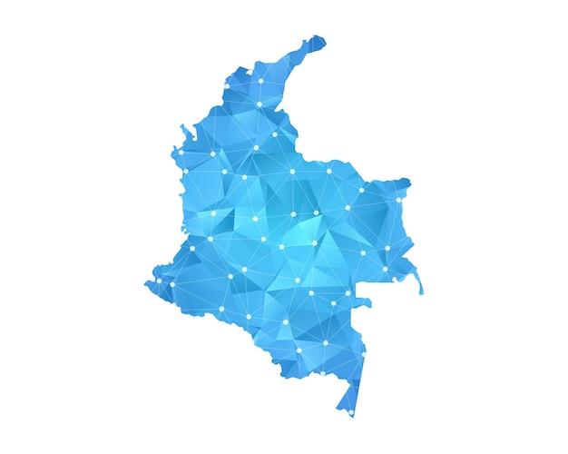コロンビアの地図の線の点多角形の抽象的な幾何学。