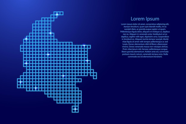 Colombia map silhouette from blue mosaic structure squares and glowing stars. vector illustration.