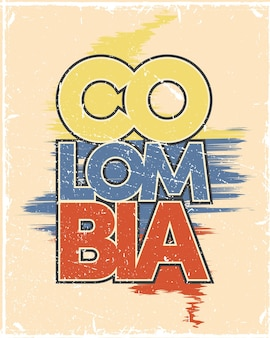 Колумбия плакат с флагом
