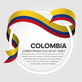 Colombia ribbon flag, vector illustration on a white background