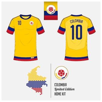 コロンビアサッカージャージーまたはフットボールキットのテンプレート