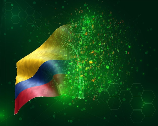 Colombia, vector 3d flag on green background with polygons and data numbers