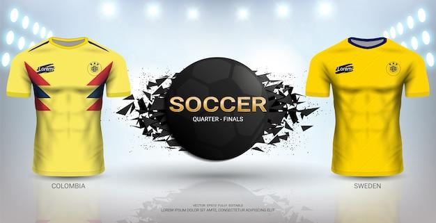 콜롬비아 vs 스웨덴 축구 저지 템플릿.