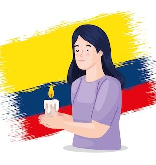 キャンドルを持つコロンビア人