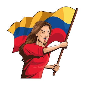 Колумбийская женщина, размахивая флагом