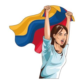 旗を持つコロンビアの女性