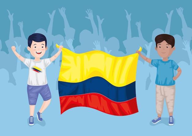 旗を持ったコロンビア人の少年