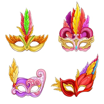 Colombina masks with feathers cartoon set