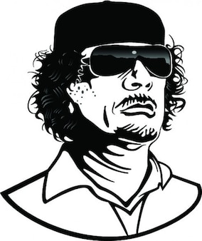 Colonel gaddafi cartoon portrait vector