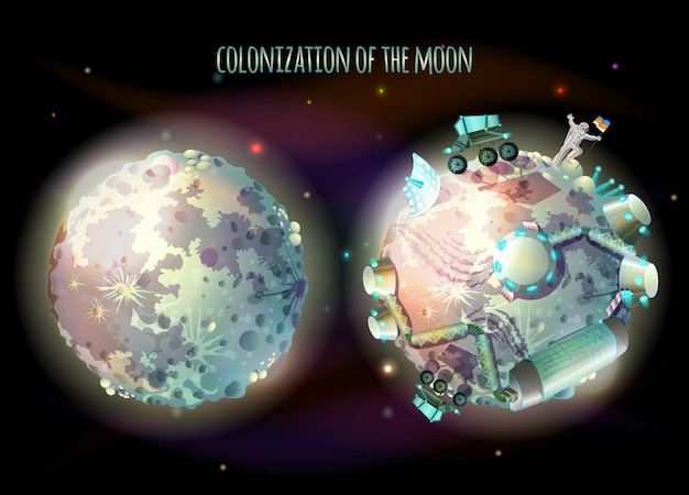 Colonization, exploration and terraforming of moon, earth satellite