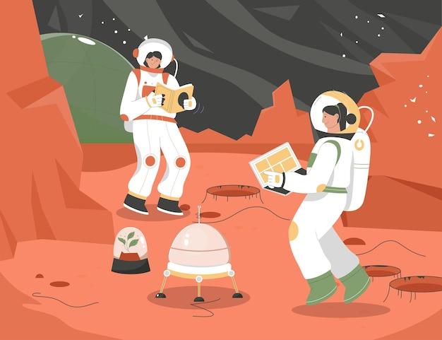 研究をしている火星シーンの女性宇宙飛行士の植民地化ミッション