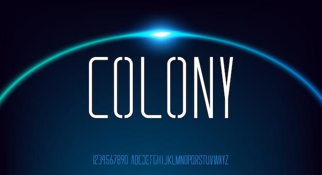 Колония, абстрактные технологии наука алфавит прописными буквами. цифровой космический шрифт