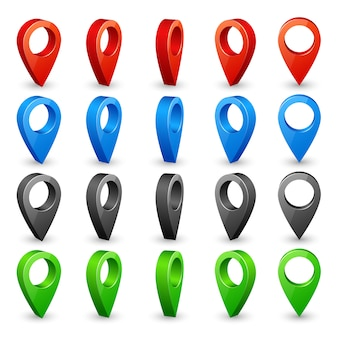 Color 3d map pins. place location and destination icons.