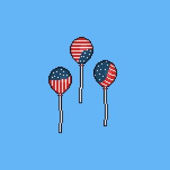 アメリカの国旗color.4th 7月とピクセル漫画バルーン。独立記念日。