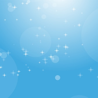 Color abstract background of blue sky with bokeh and stars.