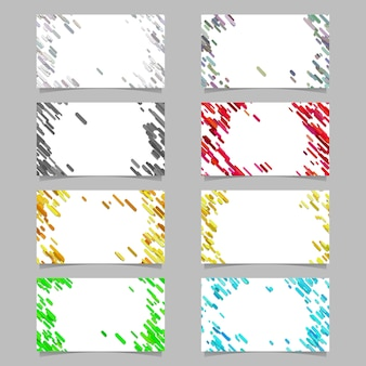 Color abstract business card background set with diagonal stripes