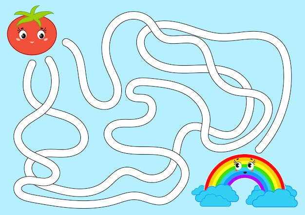 Color abstract maze. help the tomato get to the rainbow.