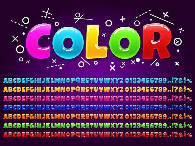 만화 게임에 대한 색상 알파벳입니다. 프리미엄 벡터