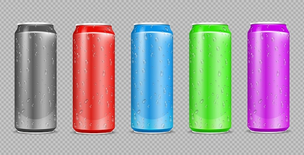 Color aluminium cans. realistic water drops on drink steel bottles. can isolated on transparent wall. metal beer or soda package  mockup. illustration aluminium container with beverage
