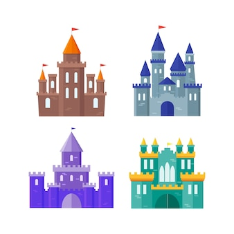 Color ancient castle building set.