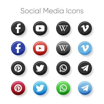 色と灰色のソーシャルメディアのアイコン
