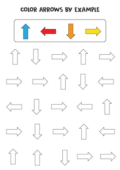예에 따른 색상 화살표. 어린이를 위한 수학 게임.