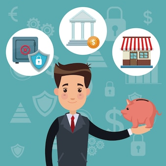 Color background analytics investment with bussinessman holding a piggy bank and icons economy vector illustration